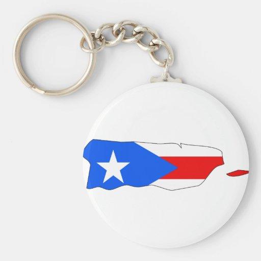 Mapa de la bandera de Puerto Rico Llavero Personalizado