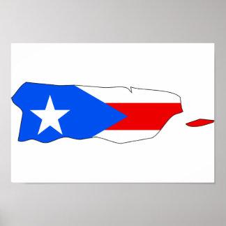 Mapa de la bandera de Puerto Rico Poster