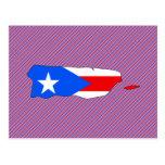 Mapa de la bandera de Puerto Rico Tarjetas Postales