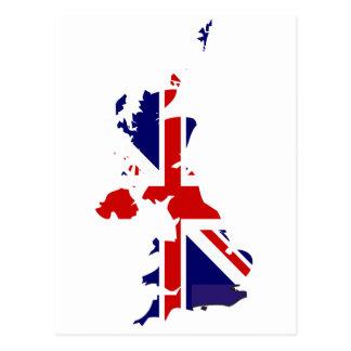 Mapa de la bandera de Reino Unido Tarjetas Postales