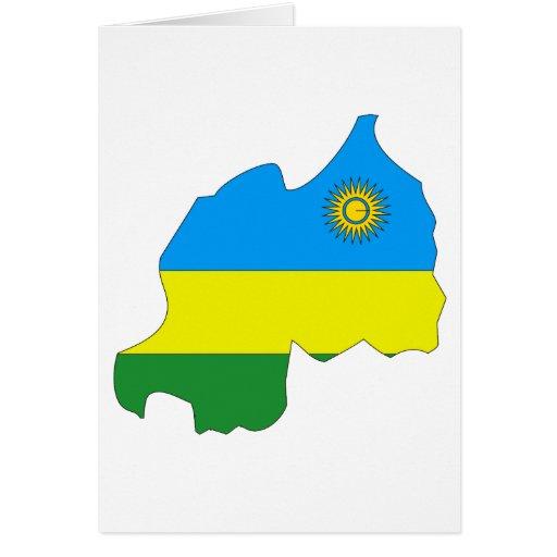 Mapa de la bandera de Rwanda Tarjeton