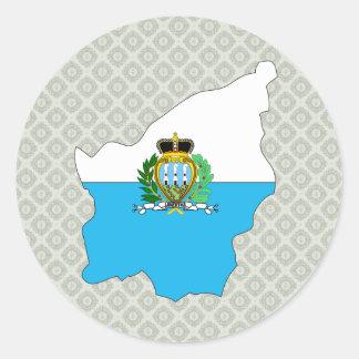 Mapa de la bandera de San Marino del mismo tamaño Pegatina Redonda