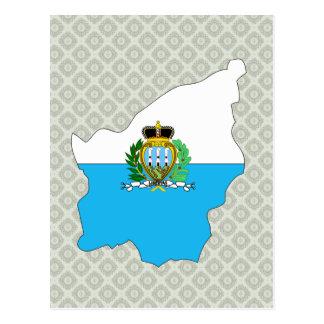 Mapa de la bandera de San Marino del mismo tamaño Postales