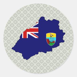 Mapa de la bandera de Santa Helena del mismo Pegatina Redonda