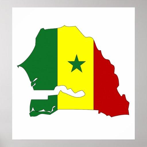 Mapa de la bandera de Senegal del mismo tamaño Póster