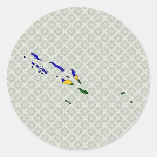 Mapa de la bandera de Solomon Island del mismo Pegatina Redonda