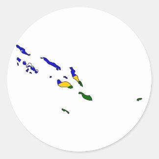 Mapa de la bandera de Solomon Island Pegatina Redonda