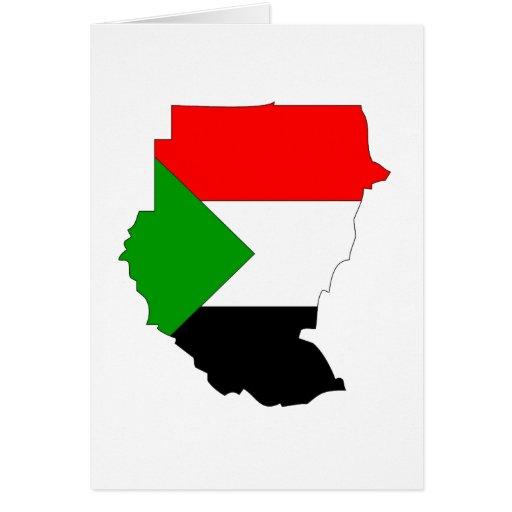 Mapa de la bandera de Sudán Tarjeta De Felicitación