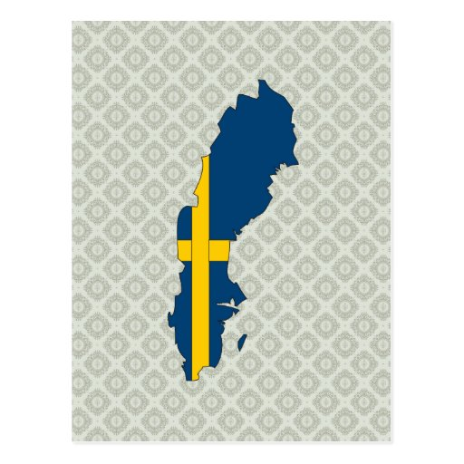 Mapa de la bandera de Suecia del mismo tamaño Postales