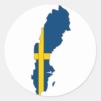 Mapa de la bandera de Suecia Pegatina Redonda