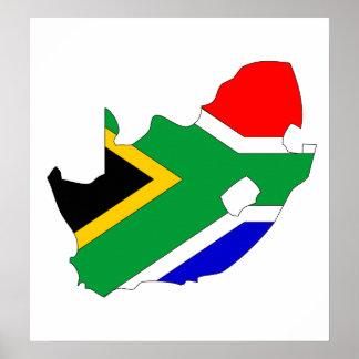 Mapa de la bandera de Suráfrica del mismo tamaño Poster