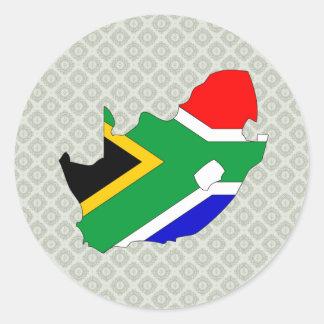 Mapa de la bandera de Suráfrica del mismo tamaño Pegatina Redonda