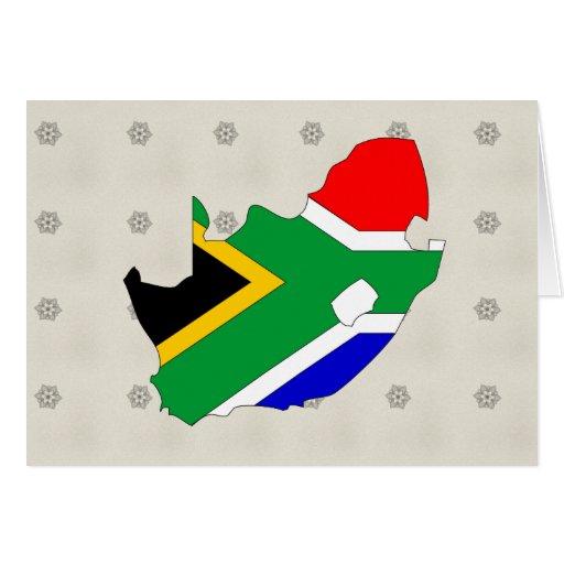 Mapa de la bandera de Suráfrica del mismo tamaño Tarjeta De Felicitación