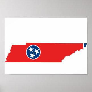 Mapa de la bandera de Tennessee Posters