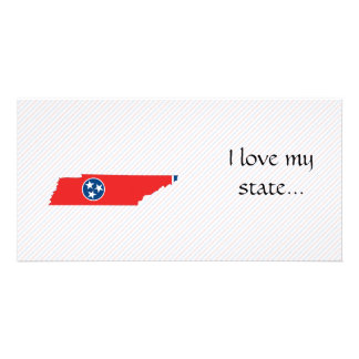 Mapa de la bandera de Tennessee Tarjeta Personal Con Foto