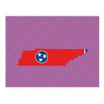 Mapa de la bandera de Tennessee Tarjeta Postal