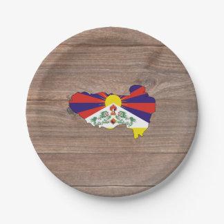 Mapa de la bandera de Tíbet del equipo en la Plato De Papel De 7 Pulgadas