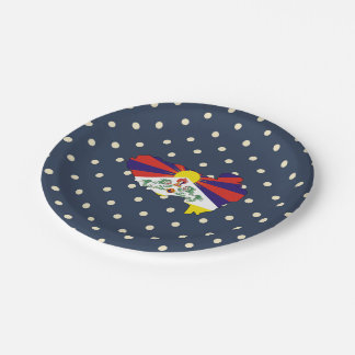 mapa de la bandera de Tíbet en lunares Plato De Papel De 7 Pulgadas