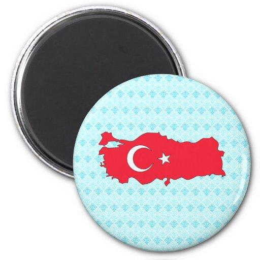 Mapa de la bandera de Turquía del mismo tamaño Imán De Nevera