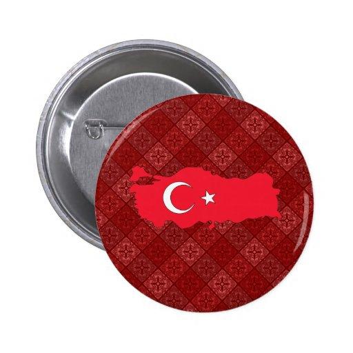 Mapa de la bandera de Turquía del mismo tamaño Pin Redondo 5 Cm