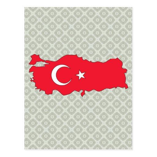 Mapa de la bandera de Turquía del mismo tamaño Postales
