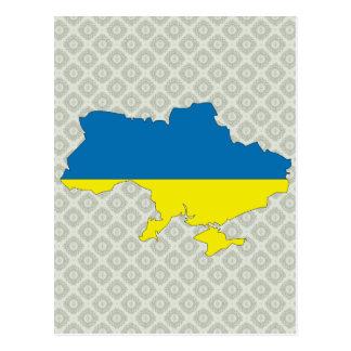 Mapa de la bandera de Ucrania del mismo tamaño Tarjeta Postal