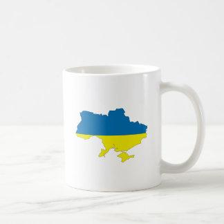 Mapa de la bandera de Ucrania del mismo tamaño Taza