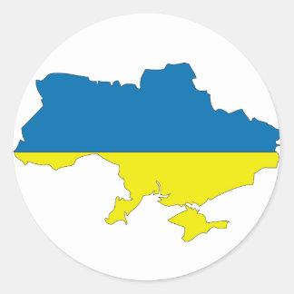 Mapa de la bandera de Ucrania Etiquetas Redondas