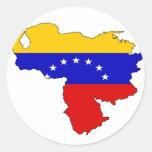 Mapa de la bandera de Venezuela Pegatina Redonda