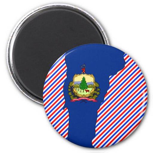 Mapa de la bandera de Vermont Imán Redondo 5 Cm