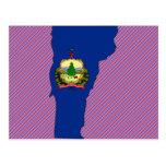 Mapa de la bandera de Vermont Tarjetas Postales