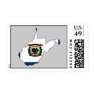 Mapa de la bandera de Virginia Occidental Franqueo