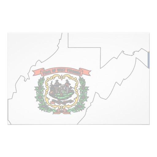 Mapa de la bandera de Virginia Occidental Papeleria De Diseño