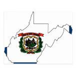 Mapa de la bandera de Virginia Occidental Postal
