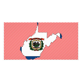 Mapa de la bandera de Virginia Occidental Tarjetas Con Fotos Personalizadas