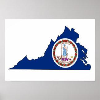 Mapa de la bandera de Virginia Posters