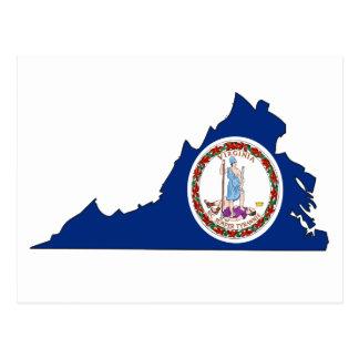 Mapa de la bandera de Virginia Postales