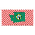 Mapa de la bandera de Washington Plantilla Para Tarjeta De Foto