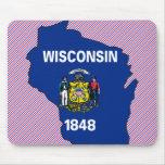 Mapa de la bandera de Wisconsin Alfombrilla De Ratones