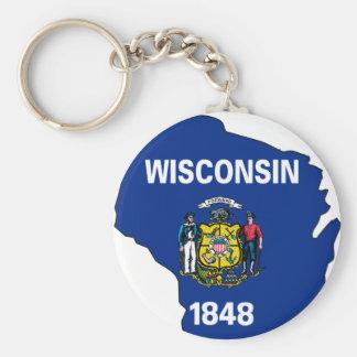 Mapa de la bandera de Wisconsin Llavero Redondo Tipo Pin