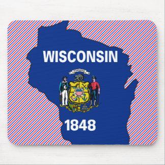 Mapa de la bandera de Wisconsin Alfombrillas De Raton