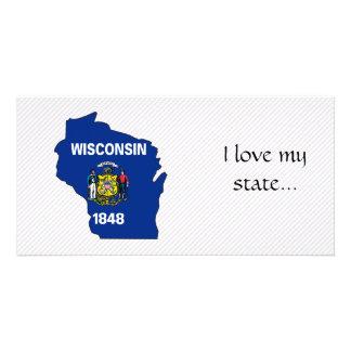 Mapa de la bandera de Wisconsin Tarjetas Personales Con Fotos