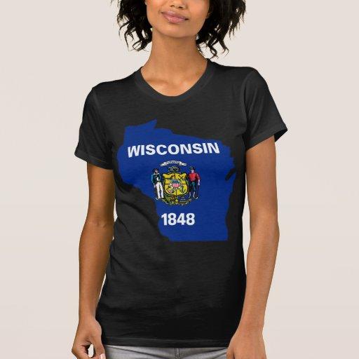 Mapa de la bandera de Wisconsin Tee Shirt