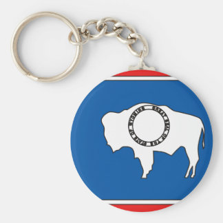 Mapa de la bandera de Wyoming Llavero Redondo Tipo Pin