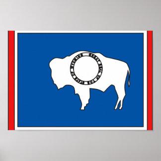 Mapa de la bandera de Wyoming Póster