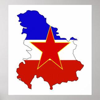 Mapa de la bandera de Yugoslavia del mismo tamaño Póster