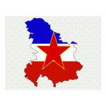 Mapa de la bandera de Yugoslavia del mismo tamaño Tarjetas Postales
