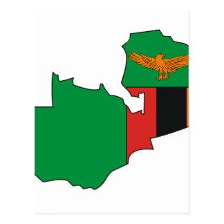 Mapa de la bandera de Zambia Tarjetas Postales
