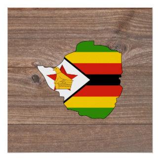 Mapa de la bandera de Zimbabwe del equipo en la Perfect Poster