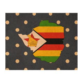 mapa de la bandera de Zimbabwe en lunares Impresión En Corcho